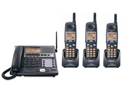 Panasonic 4 Line Phone Systems panasonic kx tg4500b plus 2 kx tga450b